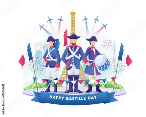 Obraz na plátně Bastille day celebration with people wearing french army outfits