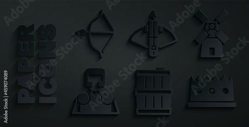 Fototapeta Set Wooden barrel, Windmill, Medieval knight, King crown, Battle crossbow with arrow and and icon