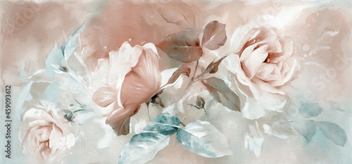 Foto Oil painting with flower rose, leaves