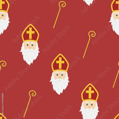 Canvas Print Red background for Saint Nicholas day wrapping paper concept