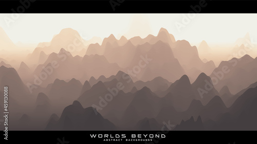 Canvas Print Abstract beige landscape with misty fog till horizon over mountain slopes
