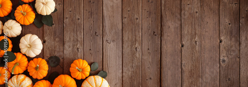 Photo Fall corner border of pumpkins and eucalyptus leaves against a rustic dark wood banner background
