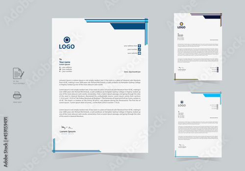 Fotomural Elegant & Abstract Letterhead Template Design in Minimalist Style