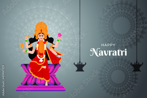 Valokuvatapetti Happy Navratri wishes, concept art of Navratri, illustration of 9 avatars of god