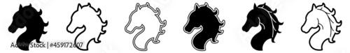 Photo Horse Head Icon Horse Pony Set | Horses Icon Pony Heads Vector Illustration Logo