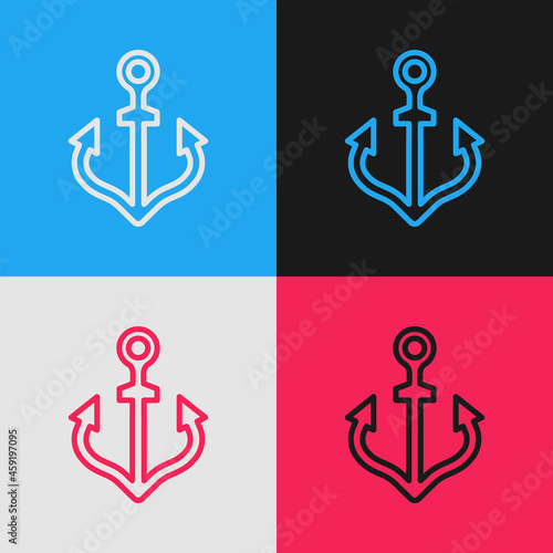 Foto Pop art line Anchor icon isolated on color background. Vector