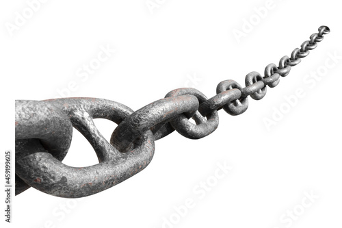 Old Chain of ocean liner isolated on white background with clipping path Fotobehang