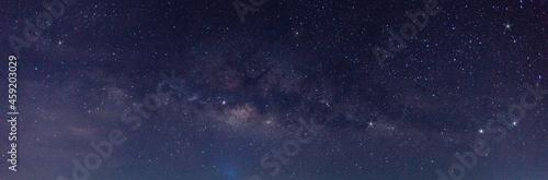 Obraz na plátně Panorama blue night sky milky way and star on dark background