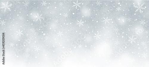 雪の結晶の幻想的な水彩背景 グレー