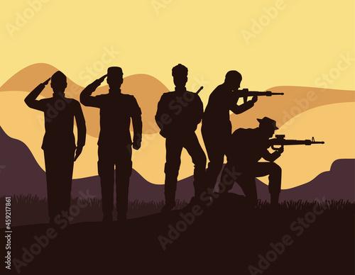 Fototapeta five military silhouettes in camp
