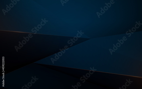 Abstract blue geometric shapes and golden cut lines in luxury concept Fototapete