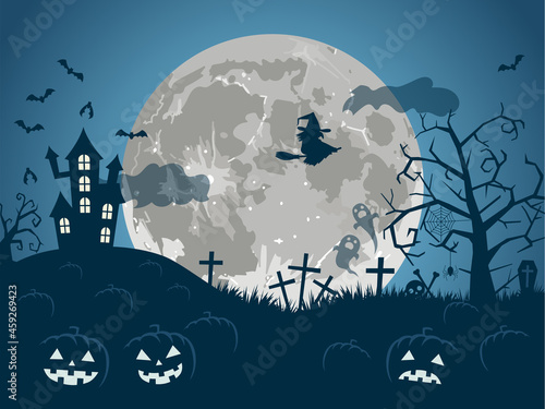 Fototapeta 満月のハロウィン