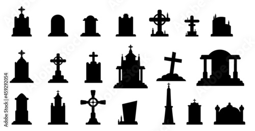 Canvas Selection of gravestones from the halloween cemetery on a white background - Vec