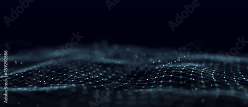 Futuristic abstract mesh. A wave of technology. Big data. 3D rendering.