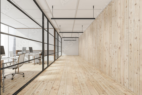 Fototapeta Office corridor with light wood plank wall and floor