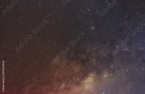 Fototapeta Negative effects of light pollution on visibility of the milkyway galaxy as seen