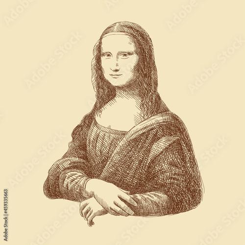 Fotografie, Tablou Sketch of the famous painting by Leonardo da Vinci 'Mona Lisa' (Gioconda), hand-drawn
