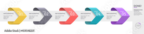 Fotografie, Obraz Infographic arrows with 5 step up options and elements