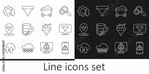 Fototapeta Set line Mobile with exclamation mark, Location sales funnel, Coal mine trolley, Server security key, Cost reduction, Sales chart and icon