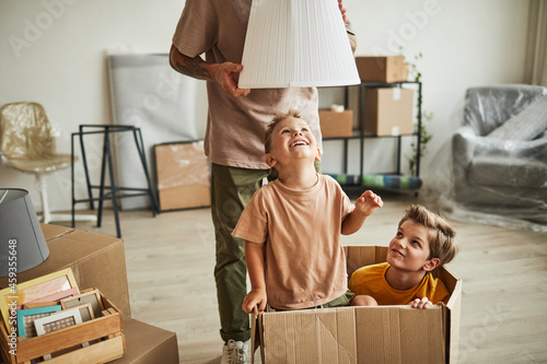 Fotografie, Obraz Portrait of two cheerful boys playing in big cardboard box while family moving t