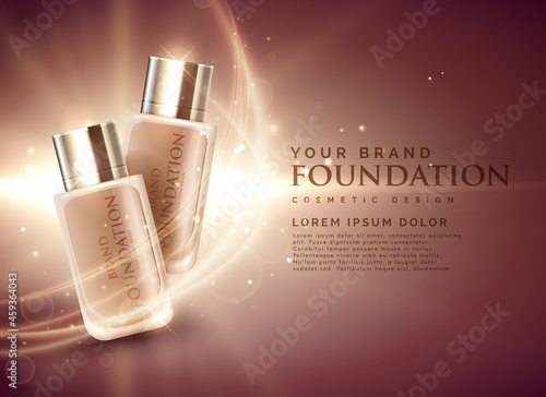 Fotografiet awesome cosmetic foundation product ads 3d illustration concept