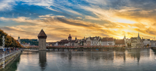 Obraz na plátně Lucerne (Luzern) Switzerland, panorama sunset city skyline at Chapel Bridge with