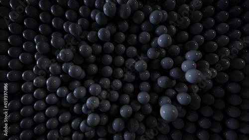 Foto Black spheres falling 3D render illustration