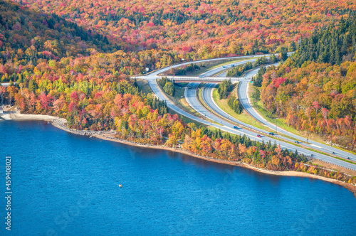 Canvas Echo Lake from Cannon Mountain, New Hampshire in autumn