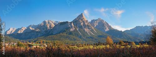 Fotografering alpine landscape Mieminger Alps with Ehrwalder Sonnenspitze, autumnal scenery