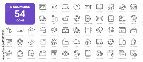 E-Commerce Line Icons. Editable Stroke. Pixel Perfect.