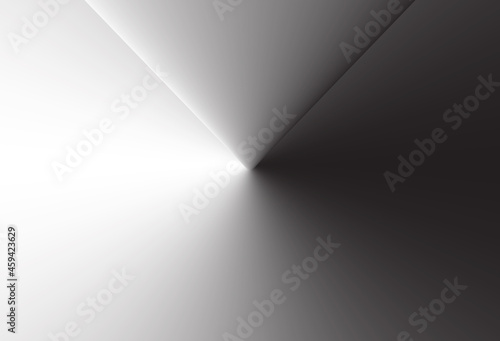 Abstract 3d background. Banner with minimal geometric shape. Architecture abstract element. Abstract modern 3d background. White and black banner design. Minimalist vector illustration.
