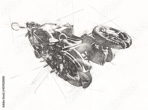 Fototapeta Old military motorcycle, on an isolated white background since the Second World