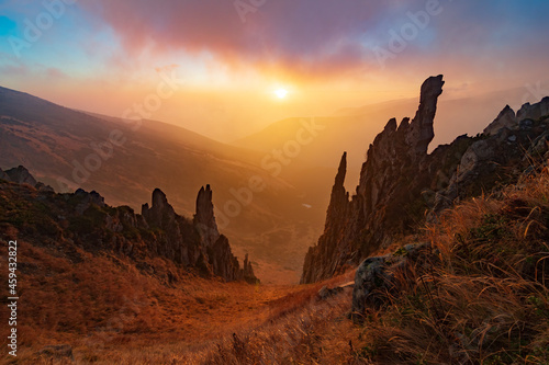 Amazing rock cliffs in the mountains. Fotobehang
