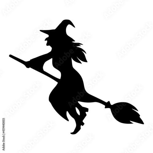 Canvastavla Vector black silhouette of a witch riding a broomstick isolated on a white background