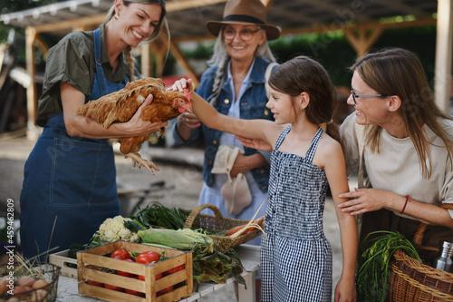 Obraz na plátně Little girl with mother stroking hen outdoors at community farmers market