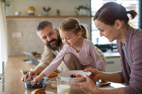 Murais de parede Family with small daughter indoors in kitchen at home, everyday life and home office with child concept