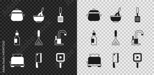 Canvas Set Cooking pot, Kitchen whisk with bowl, Barbecue spatula, Toaster, Meat chopper, Frying pan, Bottle of olive oil and icon