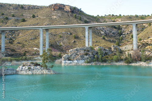 Nice inland landscape of Murcia with scrubland and a blue water swamp Fototapeta