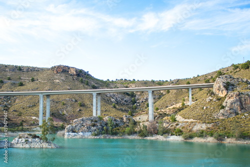 Fotografija Nice inland landscape of Murcia with scrubland and a blue water swamp