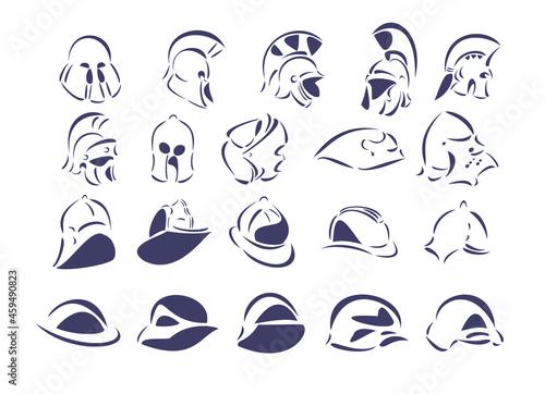Obraz na plátně Twenty line-art vector illustrations of helmets