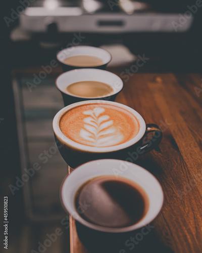 Obraz na plátně cups of coffee on a table