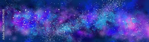Obraz na plátně Space background with realistic nebula and lots of shining stars