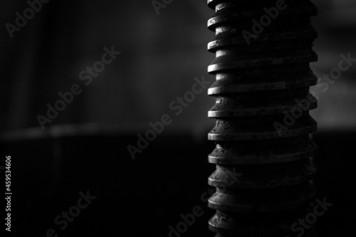 Photo Close up silhouette of helical screw of a winepress