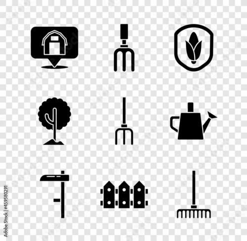 Obraz na plátne Set Location farm house, Garden rake, Shield corn, Scythe, fence wooden, Tree and pitchfork icon