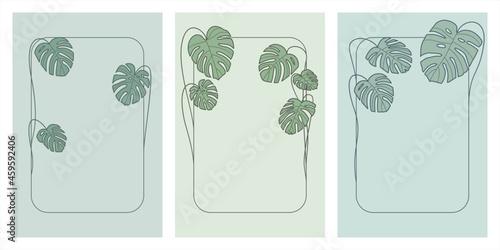 Ramki z zielonymi liśćmi monstery. Uniwersalny szablon z miejscem na tekst na pocztówki, zaproszenia ślubne, karty, vouchery, menu, ulotki, tło dla social media. Ilustracja wektorowa