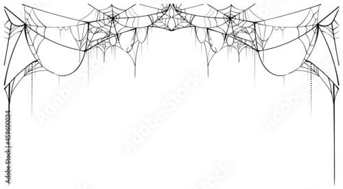 Fotografija Black torn spider web on white background template card frame spiderweb for hall