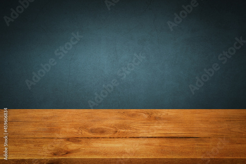 Murais de parede The background is blank wooden boards and a textured plastered wall with lighting and vignetting