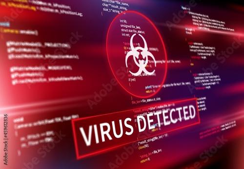 Murais de parede Virus detected warning alert message on computer screen, vector internet cyber security background