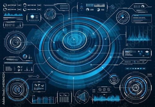 Fotografie, Obraz HUD futuristic screen interface or Sci Fi infographic with big data info chart