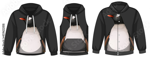 Fotografering Set of different jackets with penguin template